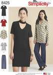 Simplicity 8425. Choker Collar Dress, Tunic and Top with Pants.