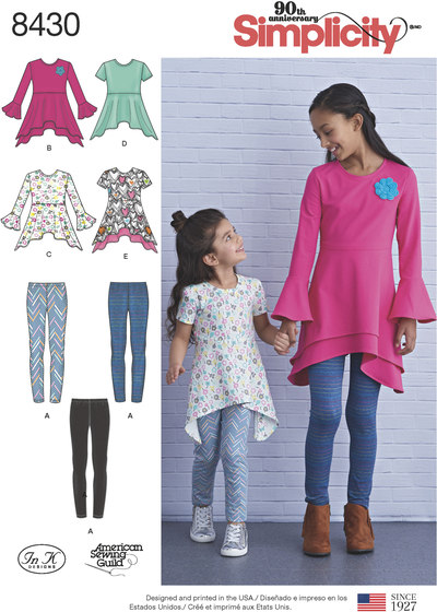 Knit Tunics in Two Lengths and Leggings for girls