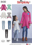 Simplicity 8430. Knit Tunics in Two Lengths and Leggings for girls.