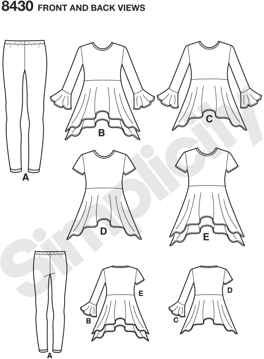 Create these adorable pieces for children size 3 to 6 or girls size 7 to 14. Pattern includes knit tunics in two lengths and two sleeves styles and the must have leggings to go with. Simplicity sewing pattern by In K. Sized for stretch knits only.