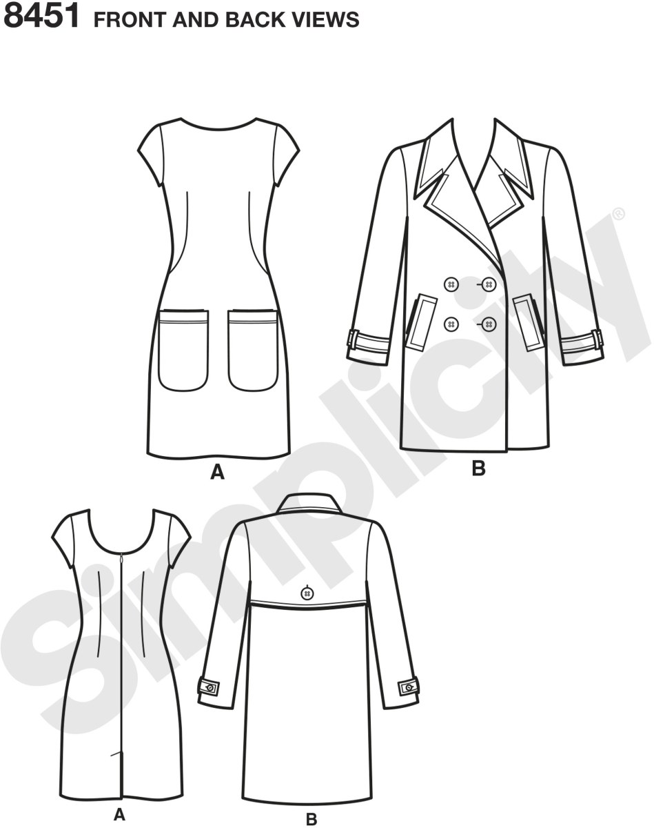 Dress and lined coat pattern designed by Mimi G Style. Dress has french darts with large front pockets and scoop back neckline. Coat has an oversized collar, double breasted closure and welt flap pockets. Mimi G for Simplicity sewing pattern.