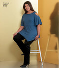 Women's easy to sew tops sized XXS-XXL for stretch knits only. Top features an asymmetrical hem with sleeve and neckline variations. Perfect for contrast fabrics. Karen Z for Simplicity sewing pattern.