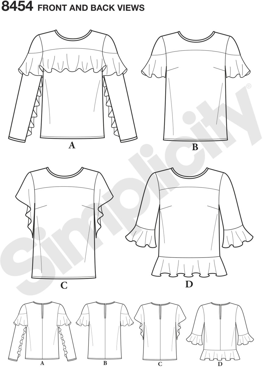 Misses ruffle tops with sleeve variations. Add ruffles to yoke, sleeves and or hem for a romantic look. Simplicity sewing pattern.