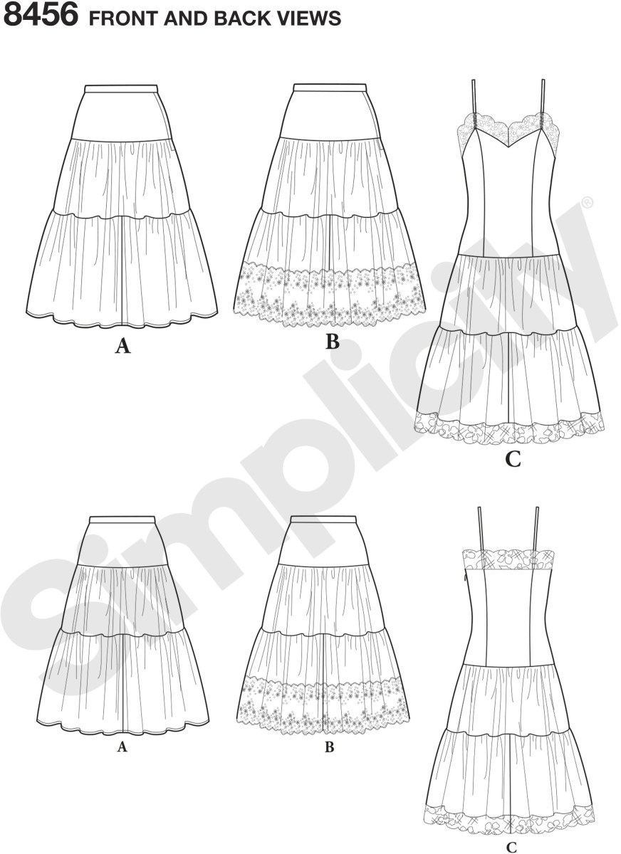 View 1 of the petticoat is fashioned with two gathered tiers and is joined to a fitted yoke. View 2 has a band of eyelet added to the lower section. View 3, the slip, features a long fitted bodice. The skirt is again cut in two gathered tiers; lace bands