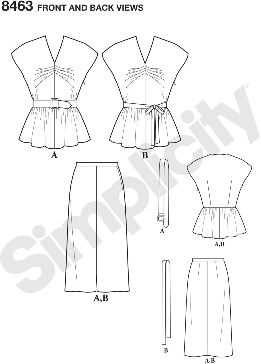 The top is fitted with tucks at the center front and darts at the back waistline. A center front seam and extended shoulders are featured. The gathered peplum joins to the bodice at the waistline. A self fabric or ribbon belt may be used. The skirt, fitte.