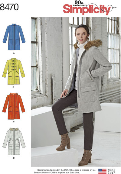 Lined Coat with Collar or Hood and Pocket Variations