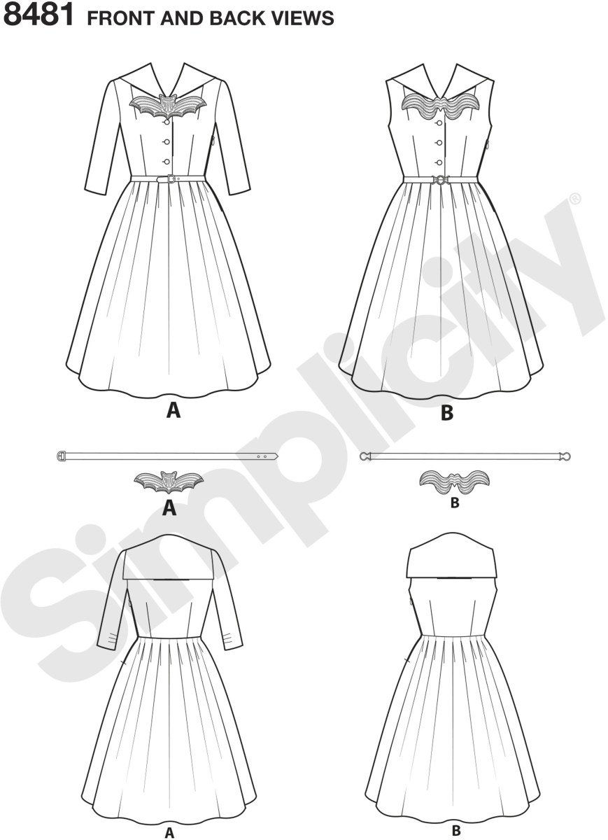 Add some fun and character to the rockabilly look. Dress features sailor collar and full skirt. Pattern also includes belt and applique. Karen Fleisch Designs for Simplicity.