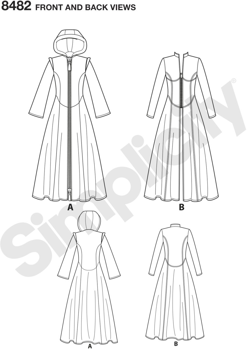 Women's Costume Coats by Andrea Schewe are perfect for your next cosplay event. Pattern includes coat with hood or stand up collar and bodice variations. Andrea Schewe Designs for Simplicity.