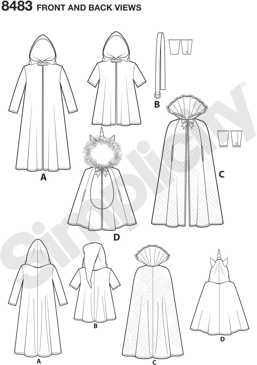 Cape costumes for children sized small, medium, large. Characters featured here include wizard, space warrior, gamer, unicorn or mermaid. Use these cape patterns to create your favorite character for Halloween and beyond. Andrea Schewe Designs for Simplic.
