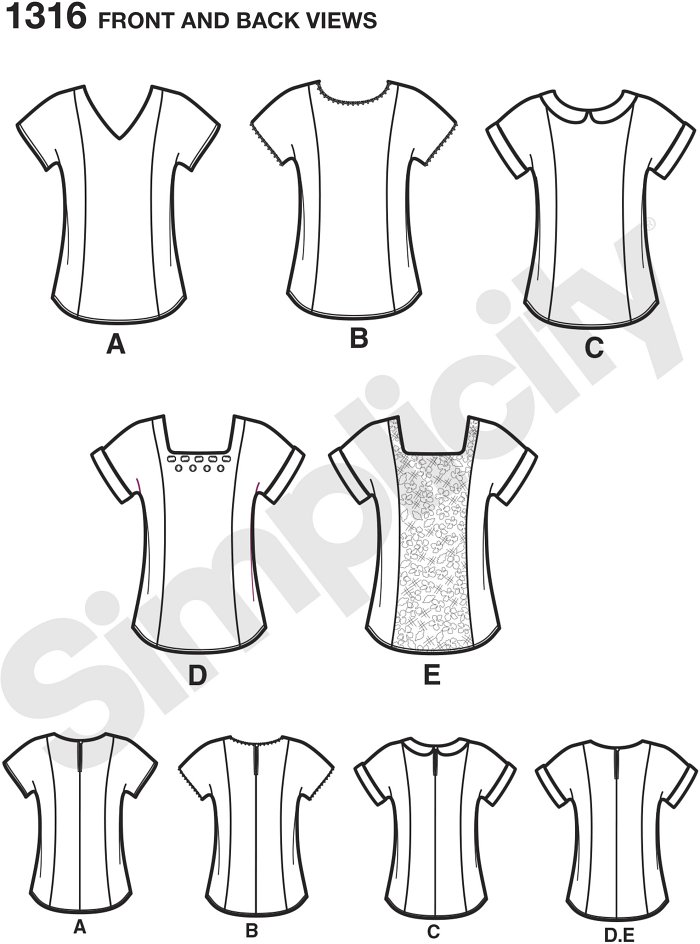 Misses top with separate patterns for B, C, D cup sizes with necklines, sleeve and embellishment options. American Sewing Guild pattern.