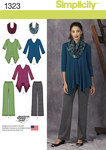 Misses´ Knit Tunics, Trousers and Infinity Scarf