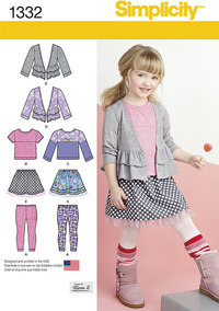 Simplicity 1332. Childs Skirt and Knit Leggings, Top and Cardigan.