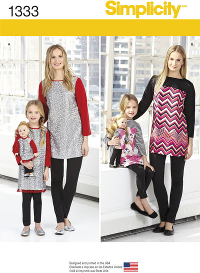 Child´s, Misses´ and 18 inches Doll Tunics and Knit Legging