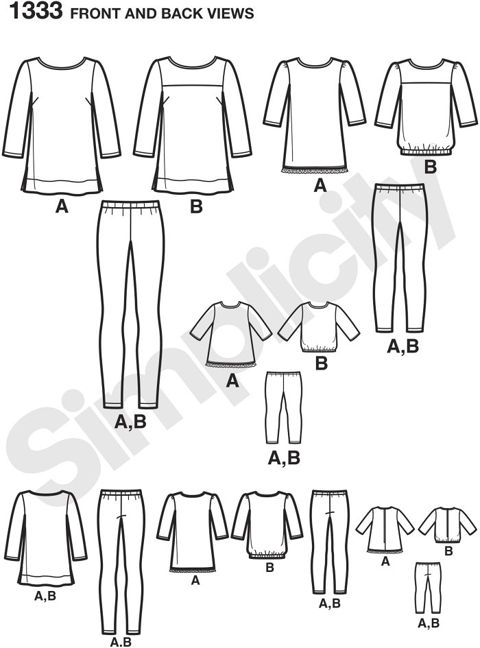 "Make these mother daughter and 18"" doll outfits in coordinating fabrics for some fun bonding time, or design in different fabrics for a more personal look. Simplicity Sewing Pattern."