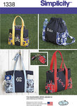 Simplicity 1338. Tote Bags in Three Sizes, Backpack and Coin Purse.