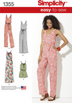 Simplicity 1355. Misses´ Maxi Dress and Long or Short Jumpsuit.