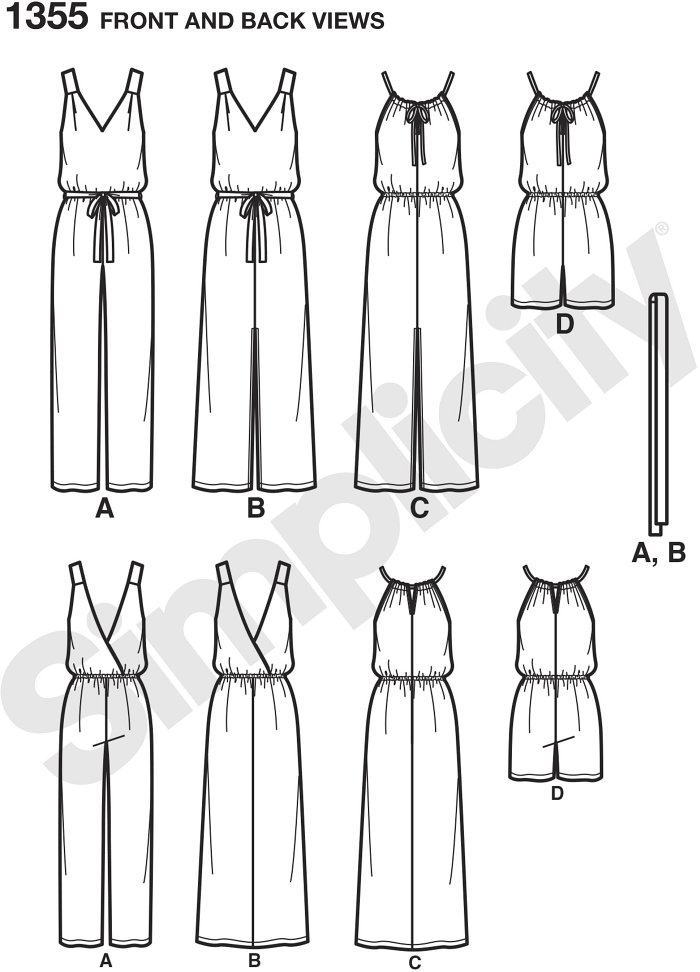 This Easy-to-Sew pattern includes long dress and long or short jumper. Neckline options are v neck or scoop with sliding tie. Back is either are crossover or slit - see front/back view tab for details.