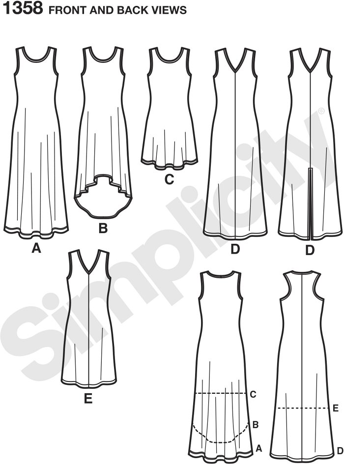 Six Dresses Made Easy can be made a scoop neck with maxi, high low or short length. Dress can also be made v neck with center front seam and maxi with or without front slit, and short lengths. Simplicity sewing pattern.