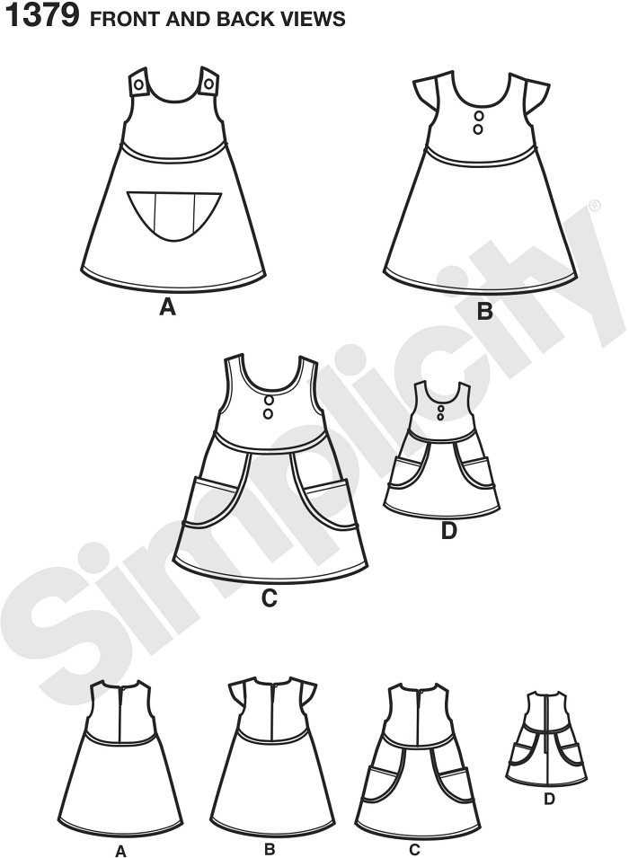 "Have fun fabric mixing and piping with this dress for children and matching dress for 18"" doll. Dress can be sleeveless with side pockets and matching doll dress, have cap sleeves, or be sleeveless with front pocket."