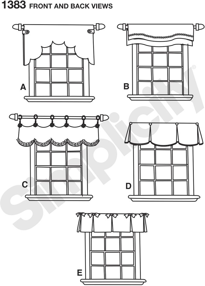 """Change up your interiors with these window treatments for 36"""" to 40"""" wide windows. Views A and B are reversible. View C features twill tape and a scalloped hem. Views D and C have inverted pleats and contrast underlay."""