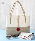 Make a nautical bag for any occasion with this fun pattern. Make a large tote, a purse with magnetic snap, a shoulder bag with magnetic snap, a pouch with zipper, and a flat clutch with magnetic snap.