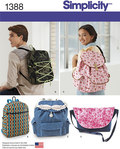 Simplicity 1388. Backpacks and Messenger Bag.