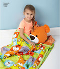 Child´s nap pack is perfect for day care, preschool or on-the-go nap time. Nap packs include blanket and pad with bear, lion, owl or u-shaped neck pillow attached. Mat rolls up and has shoulder straps for easy travel.