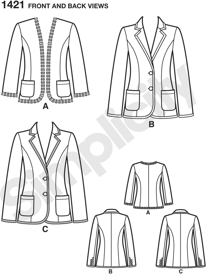 Misses unlined jacket can be made with or without collar and has separate pattern pieces for A, B, C, D cup sizes. Jacket can be made with option of applying trim, adding purchased bias tape, or making your own bias tape.