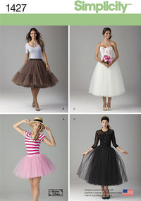 Simplicity 1427. Misses´ Tulle Skirt in Three Lengths.