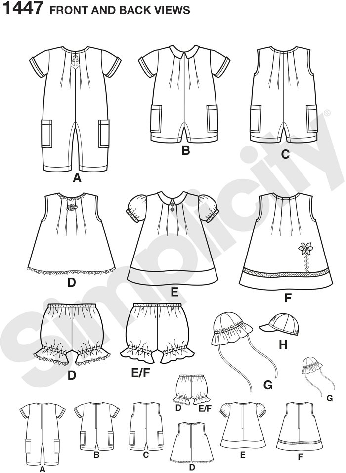 "Babies Separates include a short and long romper with side pockets, a sleeveless dress with trim and applique, a short sleeved dress with collar, panties, sunhat and baseball cap both in three sizes … S(17""), M(18""), L(19"")."