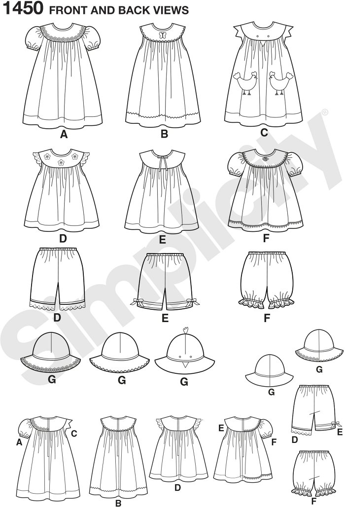 These dresses, tops, panties and hats for Toddlers make the perfect play clothes and are also great for dressing up. All items can be made with a variety of trims and appliques for added fun. Simplicity sewing pattern.
