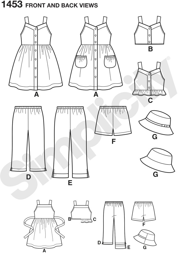 "This cool Easy to Sew wardrobe is everything your Child needs to get through the summer. Dress can be made with pockets. Shorts and Trousers have elastic pull on waist. Hat is in three sizes S(19""), M(20""), L(21"")."