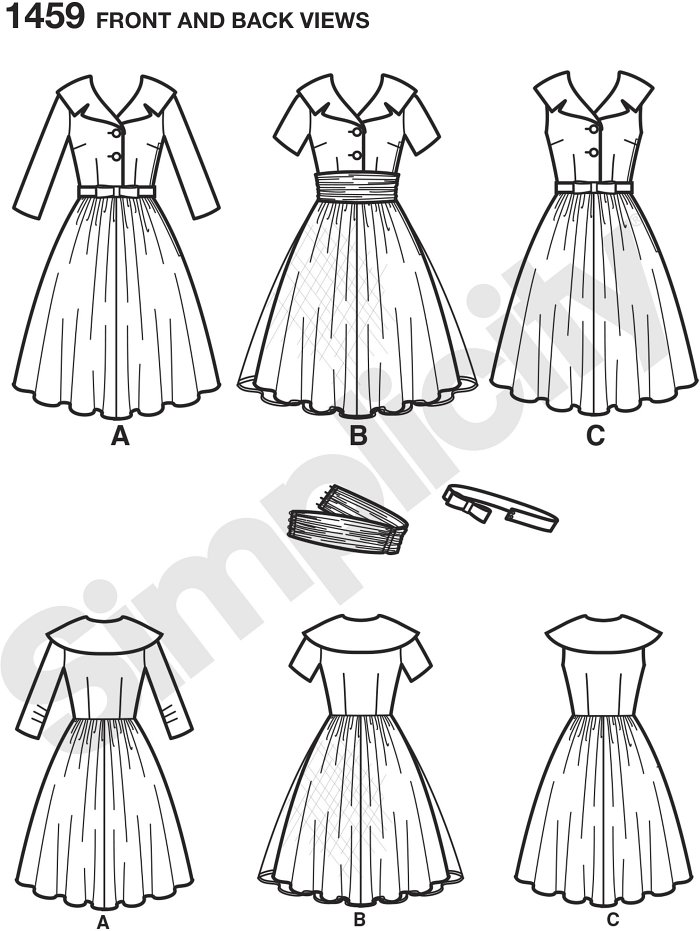 Misses´ and miss petite Vintage dress with wide lapel collar can be made in three quarter sleeves, short sleeves or sleeveless. Dress can be worn casually with bow belt, or dress it up with cummerbund and overlay.