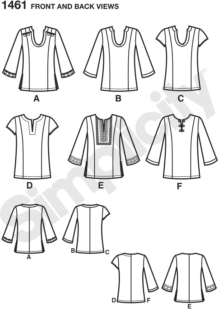 Misses and plus size top can be made with three quarter length sleeves or short sleeves and trim variations. Get your perfect fit using separate pattern pieces for B,C,D for misses and C,D,DD for plus cup sizes.