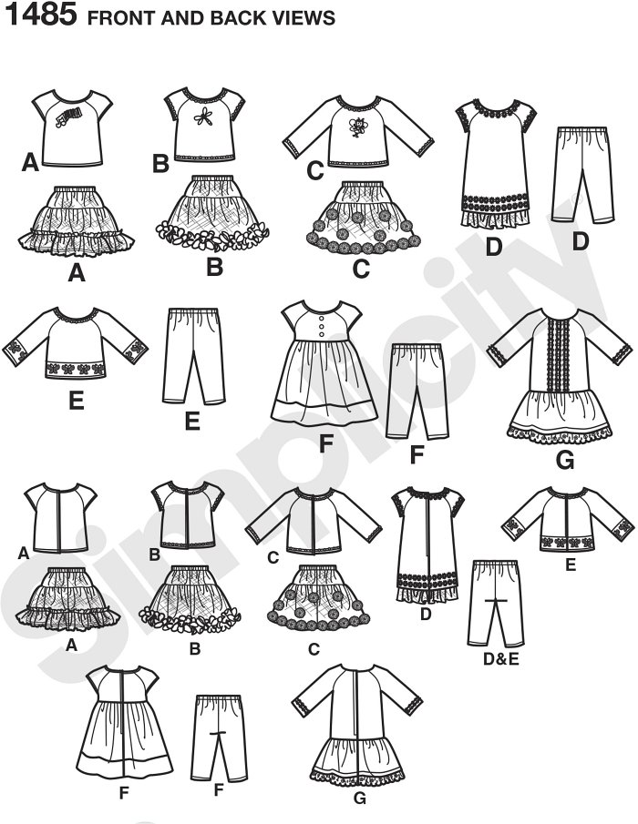 Get creative using trim and appliques to make these doll clothes unique. Pattern includes long & short sleeve tee shirt, skirt, three dresses, & leggings. Tops & dresses have back hook & loop tape closures.