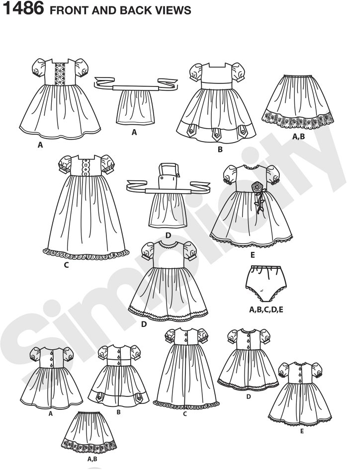 "Vintage style 18"" doll clothes come with five dresses, two aprons, a slip and doll panties. Have fun adding trim and tulle to these outfits for some elegant charm. Simplicity sewing pattern by Cupcake Cutie Pie."