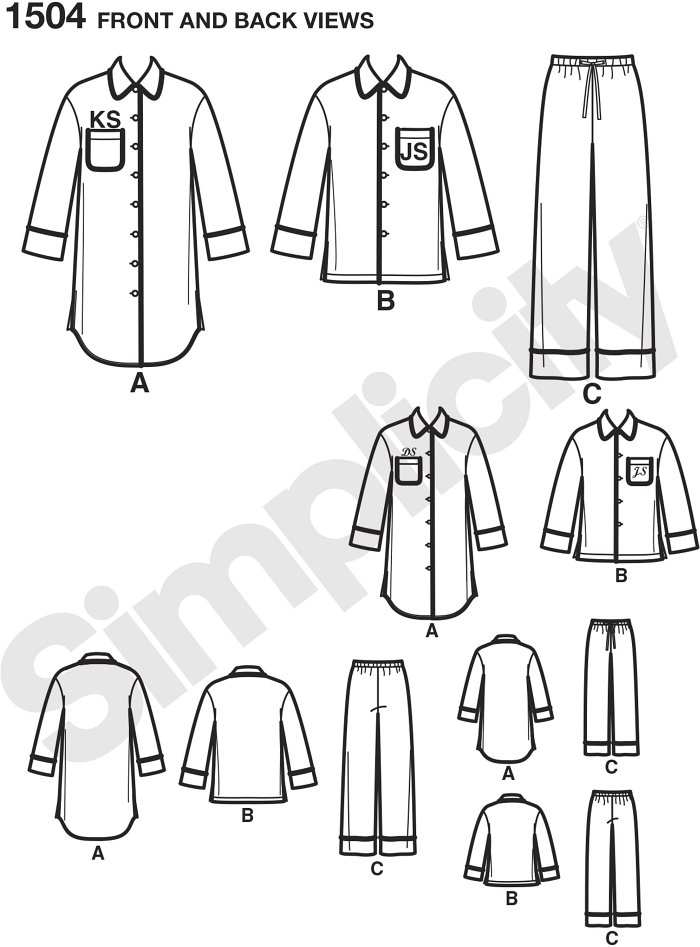 Get cozy with the whole family in these Easy to Sew loungewear shirts in two lengths and trousers. Button down collared shirts, have chest pocket and can be personalized with piping and embroidered initials.Note: If used as sleepwear, use Fabrics and Tri.