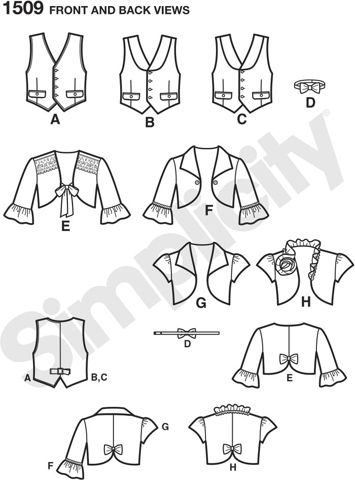 Boy´s bowtie and vest has button down front closure, two pockets, and sliding back buckle for the perfect fit. Girl´s bolero can be made in cap sleeve or three quarter sleeve with collar and trim variations.