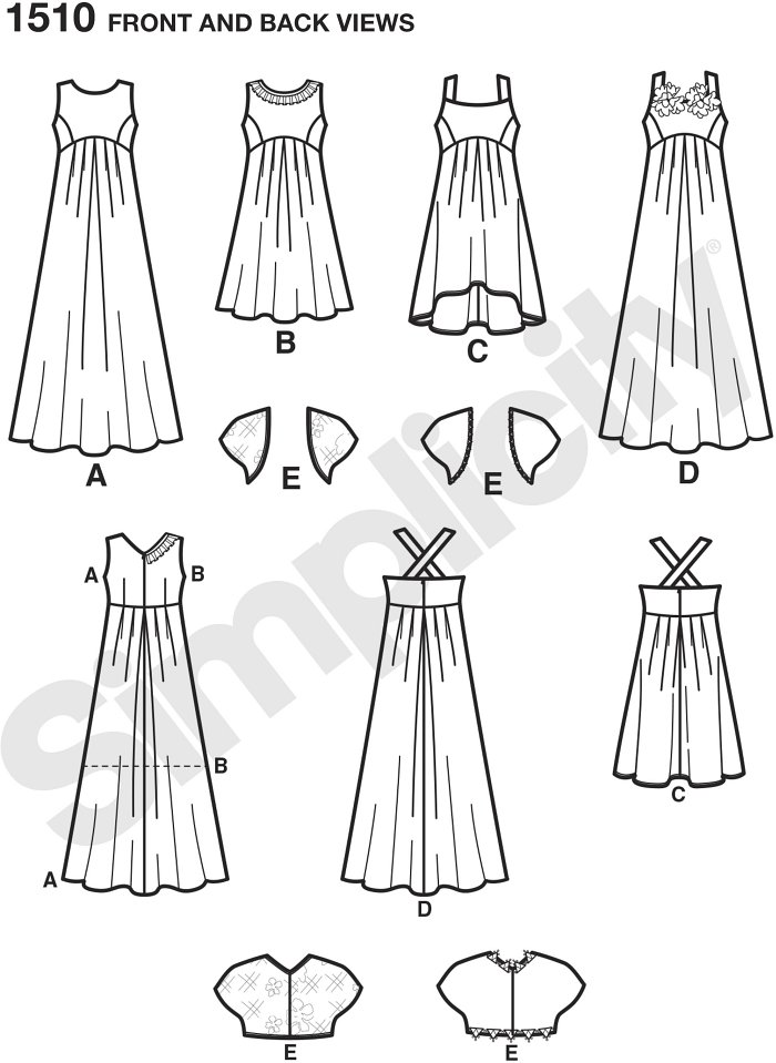 Girls and Girls Plus dress with bolero can be made short with high low option, or long. Use trim to add interest to the neckline to make it suitable for any special occasion. Simplicity sewing pattern.