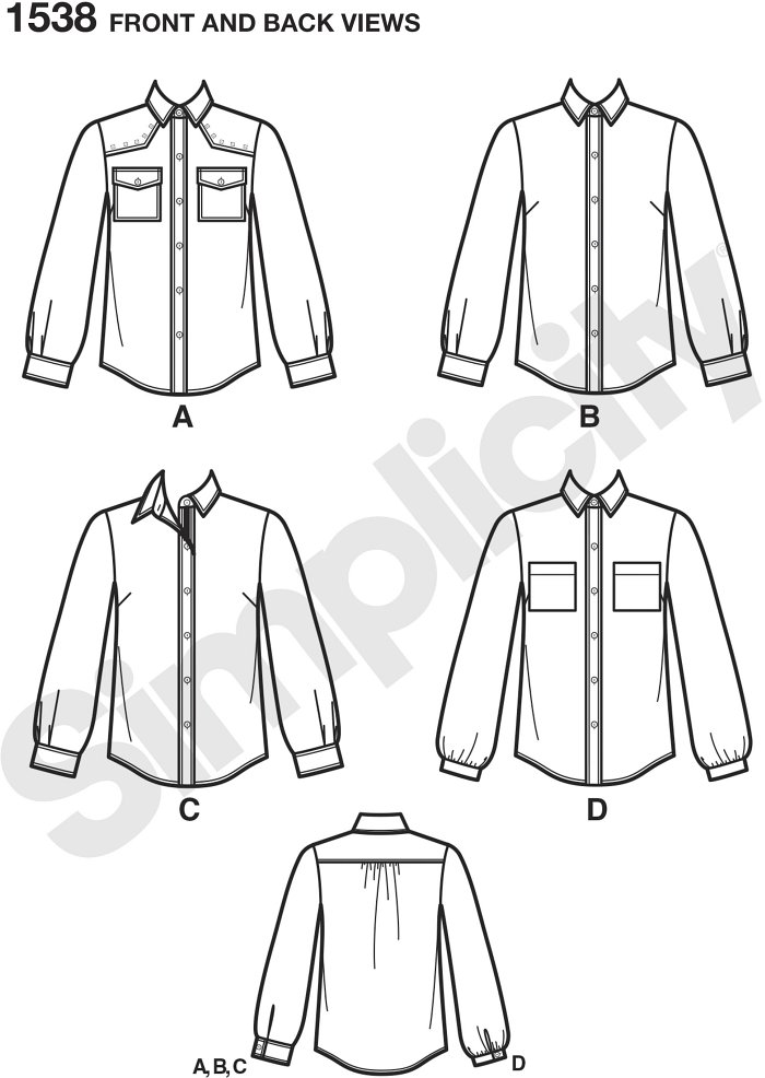 Misses´ shirt has trim and fabric variations. Update a classic with contrast fabric collar, inside yoke, cuff and placket like v. B or add a yoke with stud trim and bias pockets like v. A. Simplicity sewing pattern.