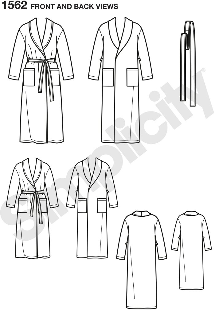 Cozy robes for the entire family. Great for lounging around your house. Simplicity sewing pattern.*Note: If used as sleepwear, use Fabrics and Trims that meet the Flammability Standards set by the U.S. Government.*.