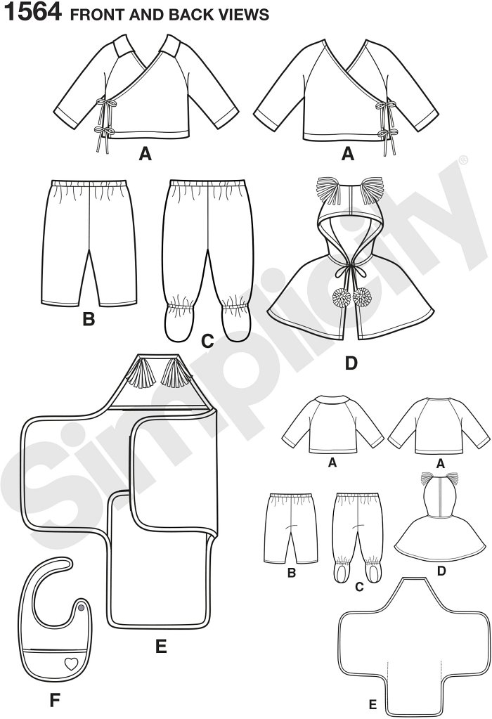 Adorable babies´ top with Trousers that feature optional footie´s. Caplet, bib and blanket perfect for swaddling. Simplicity sewing pattern.