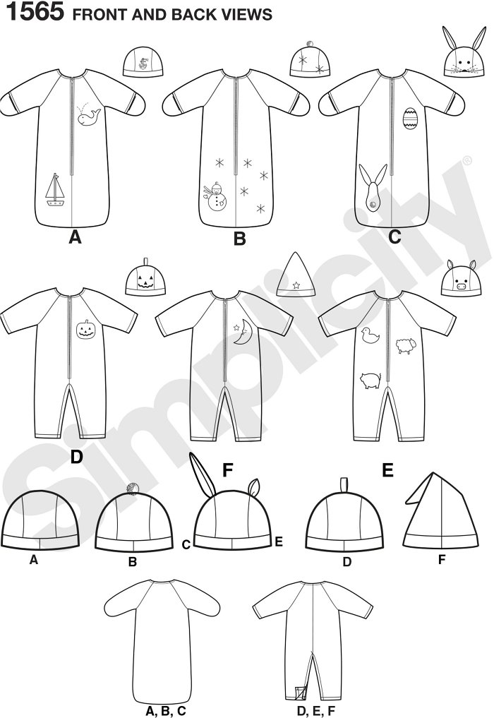 Warm your baby up with this easy-to-sew bunting, romper and hats. Simplicity sewing pattern.