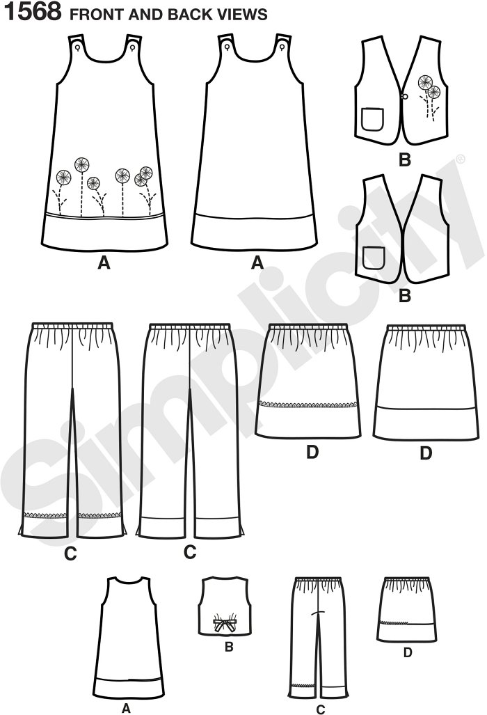 Child´s easy-to-sew dress, lined vest with pocket, Trousers and skirt. Simplicity sewing pattern.