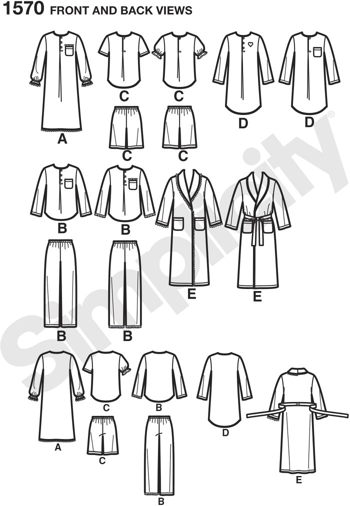 Child´s, girls´ and boys´ Trousers, shorts, robe with pockets, lounge-gown and button down shirt with pocket in two lengths. Simplicity sewing pattern.*Note: If used as sleepwear, use Fabrics and Trims that meet the Flammability Standards set by the U.S. Go