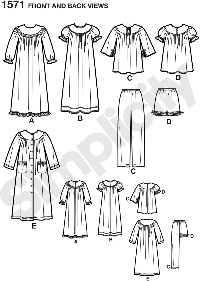 Child´s and girl´s nightgown, robe, and long or short Trousers. Simplicity sewing pattern.*Note: If used as sleepwear, use Fabrics and Trims that meet the Flammability Standards set by the U.S. Government.*