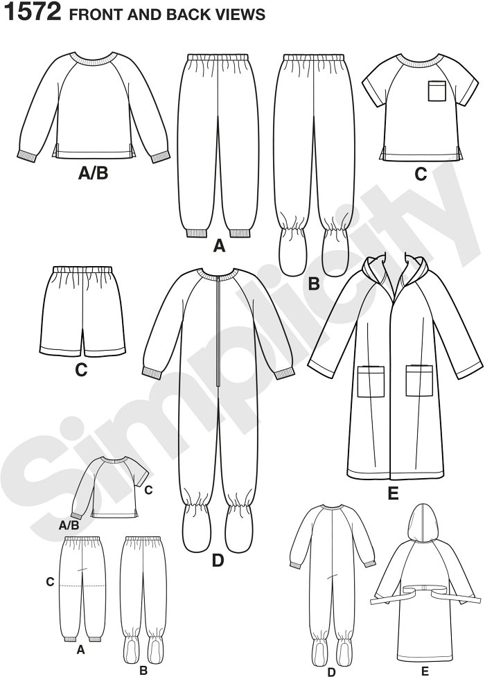 Toddlers´ and child´s sleep shirt, shorts or Trousers, robe, and footed onesie. Simplicity sewing pattern.*Note: If used as sleepwear, use Fabrics and Trims that meet the Flammability Standards set by the U.S. Government.*