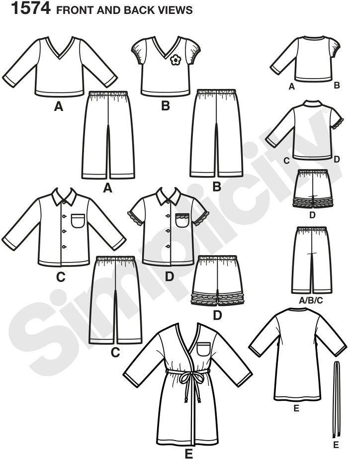 Toddlers´ and child´s robe, Trousers, and knit tops. Simplicity sewing pattern.*Note: If used as sleepwear, use Fabrics and Trims that meet the Flammability Standards set by the U.S. Government.*
