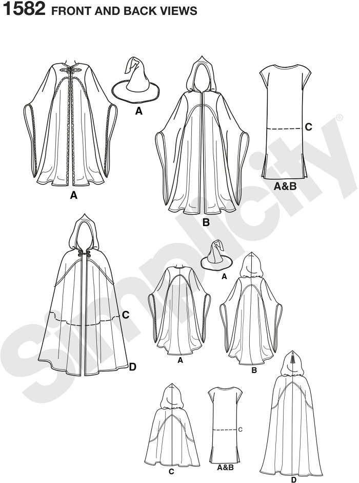 Misses, men and teen hooded cape costume in different lengths. Andrea Schewe. Simplicity sewing pattern.