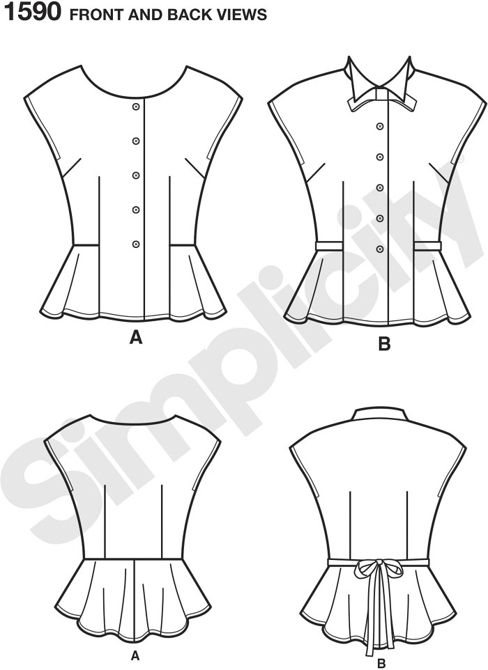 Misses Retro1940s top has either a scoop or high neckline with collar and bow. This vintage top buttons down the front and has a flattering peplum and optional ties at the waistline. Simplicity sewing pattern.